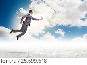 Купить «Angel investor concept with businessman with wings», фото № 25699618, снято 17 августа 2018 г. (c) Elnur / Фотобанк Лори