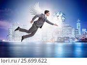 Купить «Angel investor concept with businessman with wings», фото № 25699622, снято 20 августа 2018 г. (c) Elnur / Фотобанк Лори