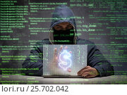 Купить «Hacker stealing dollars from bank», фото № 25702042, снято 25 марта 2019 г. (c) Elnur / Фотобанк Лори