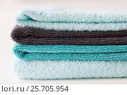 close up of stacked bath towels. Стоковое фото, фотограф Syda Productions / Фотобанк Лори