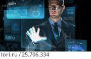 Купить «businessman touching virtual screen projection», фото № 25706334, снято 6 сентября 2016 г. (c) Syda Productions / Фотобанк Лори
