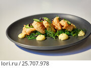 close up of prawn salad with jalapeno and wakame. Стоковое фото, фотограф Syda Productions / Фотобанк Лори