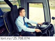 Купить «happy driver driving intercity bus», фото № 25708074, снято 21 октября 2015 г. (c) Syda Productions / Фотобанк Лори