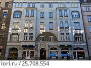 Купить «Рига, Матиса 34, фасад здания с элементами модерна и неоклассицизма», фото № 25708554, снято 29 октября 2015 г. (c) Andrejs Vareniks / Фотобанк Лори