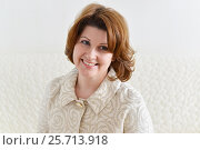 Купить «Portrait of beautiful middle-aged woman», фото № 25713918, снято 6 марта 2017 г. (c) Володина Ольга / Фотобанк Лори