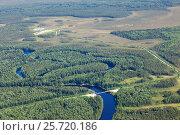Aerial view over the forest river with bridge, фото № 25720186, снято 21 июня 2015 г. (c) Владимир Мельников / Фотобанк Лори
