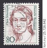Клара Жозефина Вик Шуман (Clara Josephine Wieck Schumann)-немецкая пианистка, композитор и педагог. Почтовая марка Германии 1986 года. Стоковая иллюстрация, иллюстратор александр афанасьев / Фотобанк Лори
