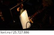 Купить «Ufa, RUSSIA - NOVEMBER 19, 2015: Symphony Orchestra at the Bashkir Theater of Opera and Ballet, Ufa», видеоролик № 25727886, снято 19 ноября 2015 г. (c) Mikhail Erguine / Фотобанк Лори