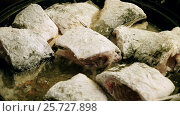 Купить «Cooking on the open fire. Pieces of freshwater fish coated in flour frying in a cast-iron skillet. HD», видеоролик № 25727898, снято 4 марта 2017 г. (c) ActionStore / Фотобанк Лори