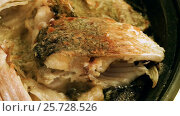 Купить «Cooking on the open fire. Pieces of freshwater fish fried in a cast-iron skillet. HD», видеоролик № 25728526, снято 4 марта 2017 г. (c) ActionStore / Фотобанк Лори