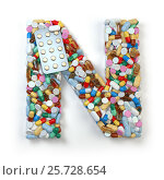 Купить «Letter N. Set of alphabet of medicine pills, capsules, tablets and blisters isolated on white. 3d illustration», фото № 25728654, снято 19 июня 2019 г. (c) Maksym Yemelyanov / Фотобанк Лори