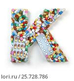 Купить «Letter K. Set of alphabet of medicine pills, capsules, tablets and blisters isolated on white.», фото № 25728786, снято 19 июня 2019 г. (c) Maksym Yemelyanov / Фотобанк Лори