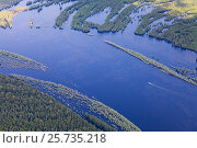 Купить «View from above of pleasure boat on forest river during flood», эксклюзивное фото № 25735218, снято 19 июня 2015 г. (c) Владимир Мельников / Фотобанк Лори