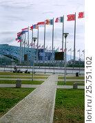 Купить «В Олимпийском парке Сочи, вид на ледовый дворец «Айсберг», развевающиеся флаги на флагштоках», эксклюзивное фото № 25751102, снято 25 февраля 2017 г. (c) Диана Должикова / Фотобанк Лори