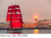"Купить «SAINT-PETERSBURG, RUSSIA - JUNE 24, 2016: Swedish brig ""Tre Krunur"" on rehearsal for the annual celebration school graduates Scarlet Sails in St. Petersburg», фото № 25753302, снято 24 июня 2016 г. (c) Галина Ермолаева / Фотобанк Лори"