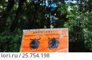 """Табличка """"Внимание проведена обработка территории от клещей"""" (2015 год). Редакционное фото, фотограф Татьяна Руденко / Фотобанк Лори"""