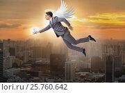 Купить «Angel investor concept with businessman with wings», фото № 25760642, снято 21 ноября 2019 г. (c) Elnur / Фотобанк Лори