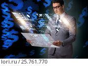 Купить «Businessman in big data management concept», фото № 25761770, снято 20 марта 2019 г. (c) Elnur / Фотобанк Лори