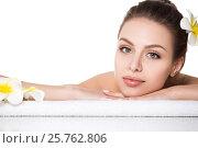 Купить «Portrait of young beautiful woman laying in spa salon», фото № 25762806, снято 3 июня 2016 г. (c) Людмила Дутко / Фотобанк Лори