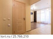 Купить «Интерьер однокомнатной квартиры, вид со стороны входной двери на комнату и дверь в ванную», фото № 25766210, снято 10 марта 2017 г. (c) Иванов Алексей / Фотобанк Лори