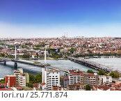 Купить «Вид с воздуха на бухту Золотой Рог и Стамбул. Турция», фото № 25771874, снято 15 мая 2015 г. (c) Наталья Волкова / Фотобанк Лори
