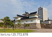 Реконструированный в 1954 г. замок Тояма (основан в 1543), г. Тояма, Япония (2016 год). Стоковое фото, фотограф Иван Марчук / Фотобанк Лори