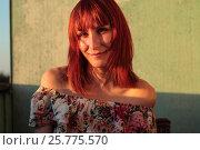 Купить «Portrait of a cute young female at sunset», фото № 25775570, снято 2 июля 2011 г. (c) Константин Шишкин / Фотобанк Лори