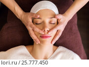 Купить «woman having face and head massage at spa», фото № 25777450, снято 26 января 2017 г. (c) Syda Productions / Фотобанк Лори