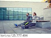 Купить «couple doing triceps dip exercise outdoors», фото № 25777494, снято 17 октября 2015 г. (c) Syda Productions / Фотобанк Лори