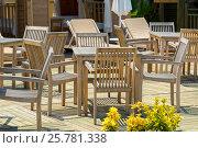 Купить «Wooden tables and chairs in outdoor cafe, Turkey», фото № 25781338, снято 21 июня 2014 г. (c) Володина Ольга / Фотобанк Лори
