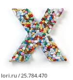 Купить «Letter X. Set of alphabet of medicine pills, capsules, tablets and blisters isolated on white.», фото № 25784470, снято 19 июня 2019 г. (c) Maksym Yemelyanov / Фотобанк Лори