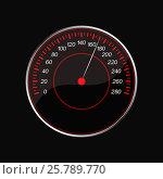 Speedometer on a black background. Red scale. Стоковая иллюстрация, иллюстратор Silanti / Фотобанк Лори