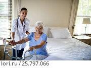 Купить «Female doctor helping senior woman to walk with a walker», фото № 25797066, снято 29 ноября 2016 г. (c) Wavebreak Media / Фотобанк Лори