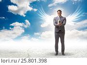 Купить «Angel investor concept with businessman with wings», фото № 25801398, снято 20 августа 2018 г. (c) Elnur / Фотобанк Лори