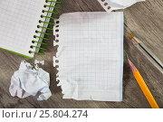Купить «Notebook pages with writing materials», фото № 25804274, снято 11 декабря 2018 г. (c) Яков Филимонов / Фотобанк Лори