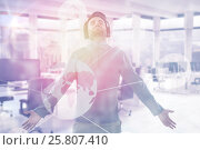 Купить «Composite image of man with arms outstretched while listening music 3d», фото № 25807410, снято 26 июня 2019 г. (c) Wavebreak Media / Фотобанк Лори