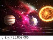 Composite image of solar system against white background 3d. Стоковое фото, агентство Wavebreak Media / Фотобанк Лори