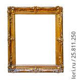 Винтажная золотая рамка на белом фоне изолировано, фото № 25811250, снято 8 июня 2016 г. (c) Наталья Волкова / Фотобанк Лори