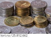 Столбики монет крупно. Стоковое фото, фотограф Яна Королёва / Фотобанк Лори