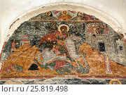 Купить «Mural paintings at the entrance of Alaverdi Monastery in the Alazani valley. Kakheti region. Georgia», фото № 25819498, снято 18 сентября 2016 г. (c) Elena Odareeva / Фотобанк Лори