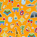Seamless pattern on the theme of recreation in the country of Mexico, colorful stickers icons on orange background, иллюстрация № 25823378 (c) Наталья Загорий / Фотобанк Лори