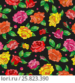Купить «Seamless pattern with spring flowers in stained glass style, flowers, buds and leaves of  multi colored roses on a dark background», иллюстрация № 25823390 (c) Наталья Загорий / Фотобанк Лори