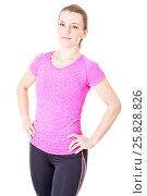 Молодая блондинка в розовой футболке и черных леггинсах. Стоковое фото, фотограф Сергей Дубров / Фотобанк Лори