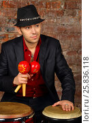 Купить «Handsome man in suit and hat poses with maracas and drums in studio with brick wall», фото № 25836118, снято 9 февраля 2016 г. (c) Losevsky Pavel / Фотобанк Лори