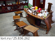 Купить «SHANGHAI, CHINA - NOV 6, 2015: Table for tea ceremony in Yuyuan Garden, Today occupies an area of 2 hectares», фото № 25836262, снято 6 ноября 2015 г. (c) Losevsky Pavel / Фотобанк Лори