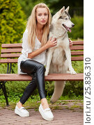 Купить «Young blond woman with dog Husky sits on bench in summer park», фото № 25836310, снято 23 июля 2015 г. (c) Losevsky Pavel / Фотобанк Лори