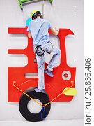 Купить «Teenage boy in equipment climbs on climbing wall, rear view», фото № 25836406, снято 12 декабря 2014 г. (c) Losevsky Pavel / Фотобанк Лори