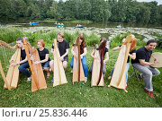Купить «Ensemble of seven musicians play celtic harps performing outdoors at pond shore», фото № 25836446, снято 19 июня 2016 г. (c) Losevsky Pavel / Фотобанк Лори