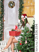 Купить «Lovely woman with elegant style sitting indoor near decorated tree with some Christmas presents on her legs», фото № 25836694, снято 14 декабря 2014 г. (c) Losevsky Pavel / Фотобанк Лори