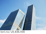Купить «Highrise modern office buildings, low angle view», фото № 25836930, снято 21 августа 2016 г. (c) Losevsky Pavel / Фотобанк Лори